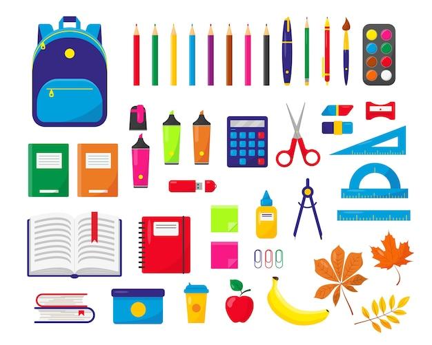 Schoolbenodigdheden en rugzak set illustratie op witte achtergrond. Premium Vector