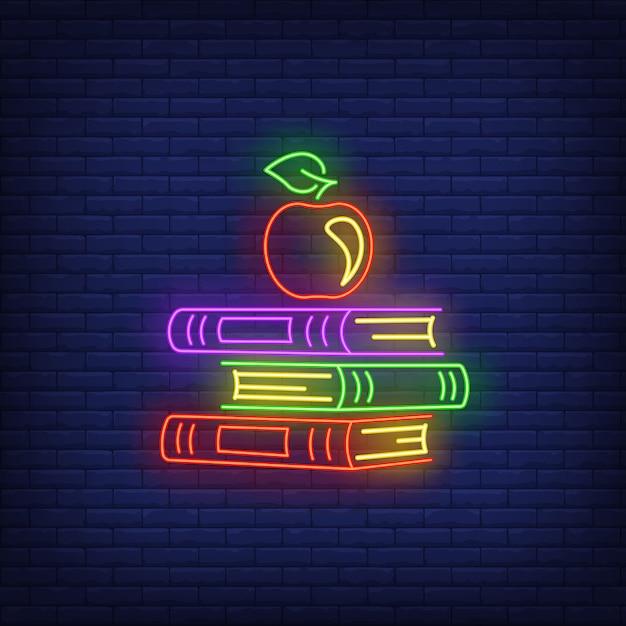 Schoolboeken neonteken Gratis Vector