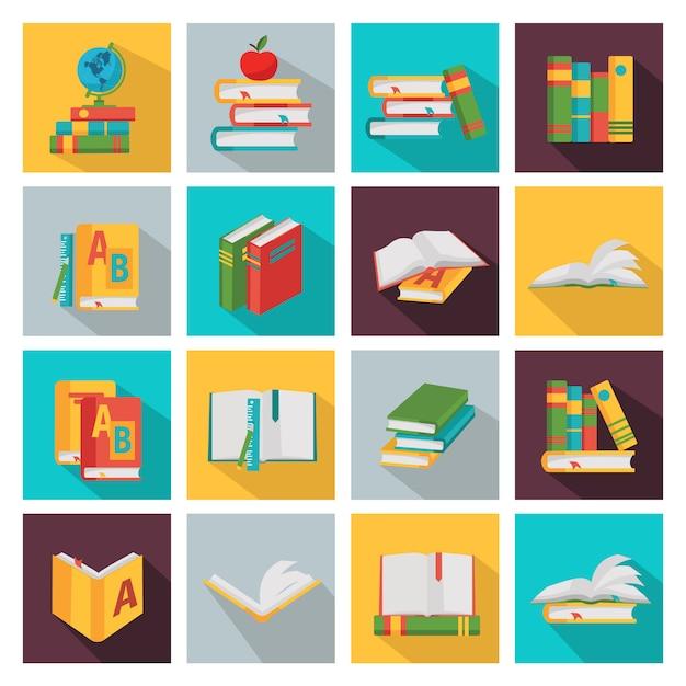 Schoolboeken vierkante elementen instellen Gratis Vector