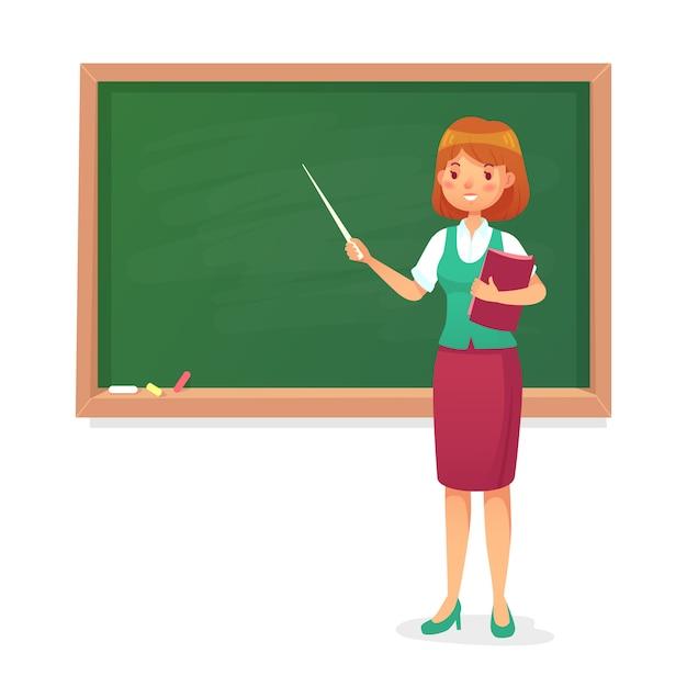 Schoolbord en leraar Premium Vector