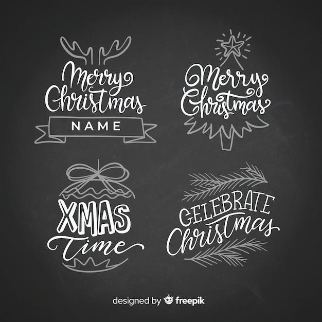 Schoolbord kerst stickers collectie Gratis Vector