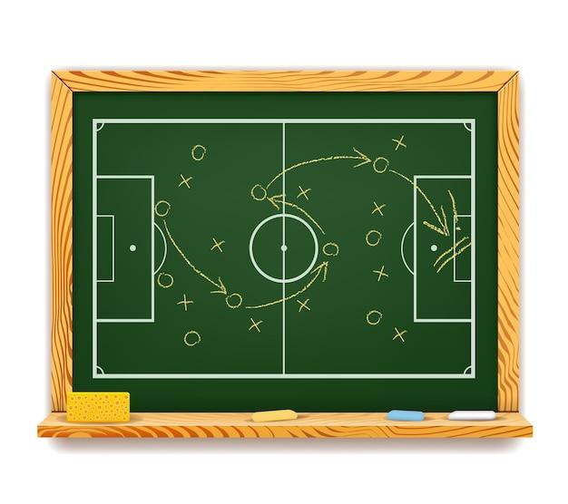 Schoolbord met een schematisch spelplan voor voetbal met een bovenaanzicht van het veld met de posities van de spelers en het traject van de bal met pijlen Gratis Vector