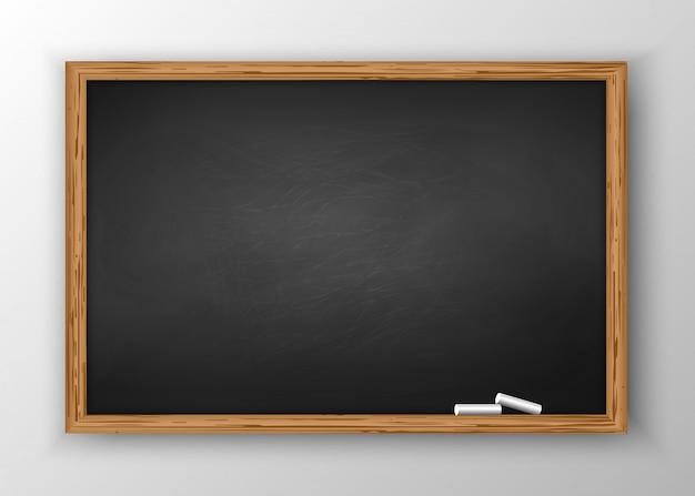 Schoolbord met houten frame Premium Vector