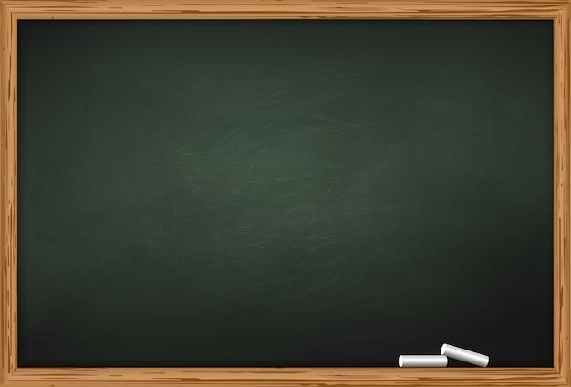 Schoolbord met twee stukjes krijt Premium Vector