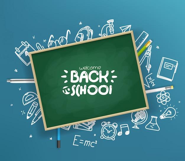 Schoolbord met verschillende dingen. Premium Vector