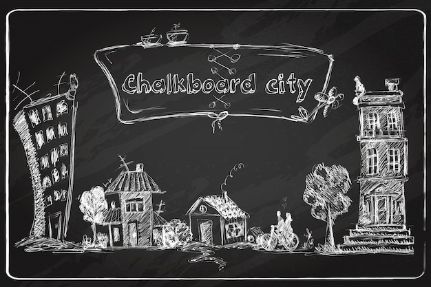 Schoolbord stad doodle Gratis Vector
