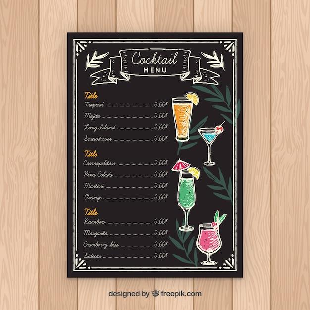 Schoolbord stijl cocktail menusjabloon Gratis Vector