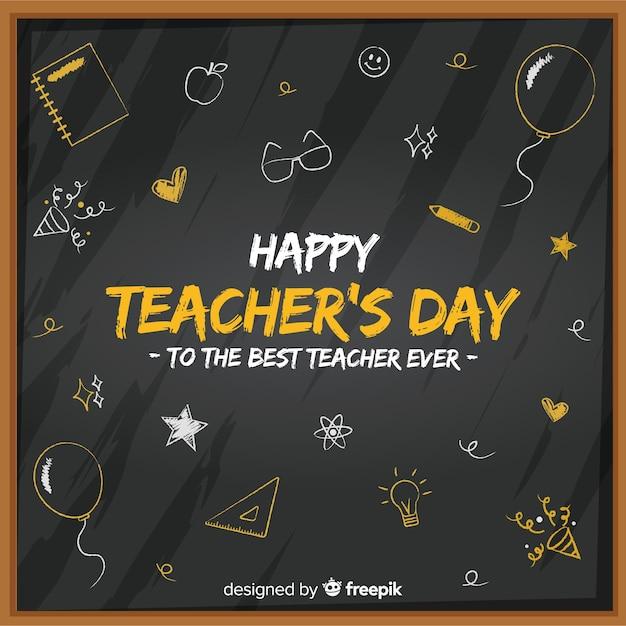 Schoolbord voor platte lerarendag met schattige tekeningen Gratis Vector