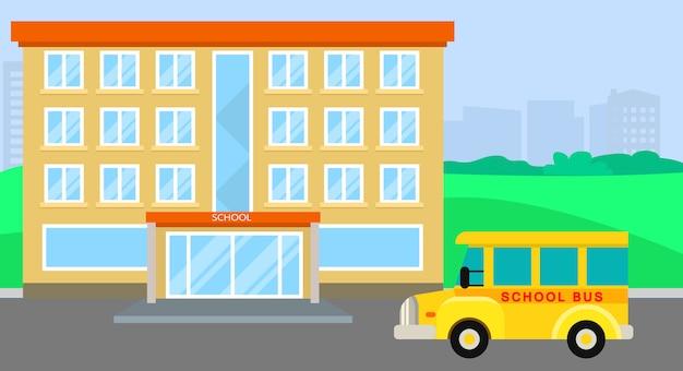 Schoolbus aankomen, vlakke stijl Premium Vector
