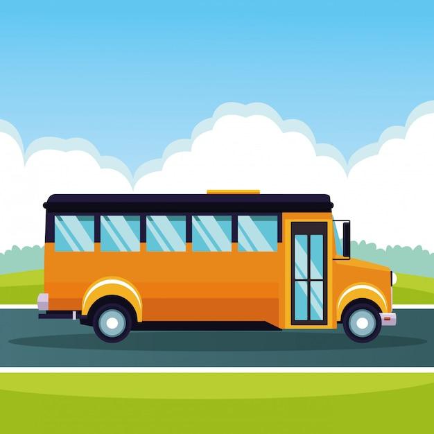 Schoolbus die door beeldverhaal overgaat Gratis Vector