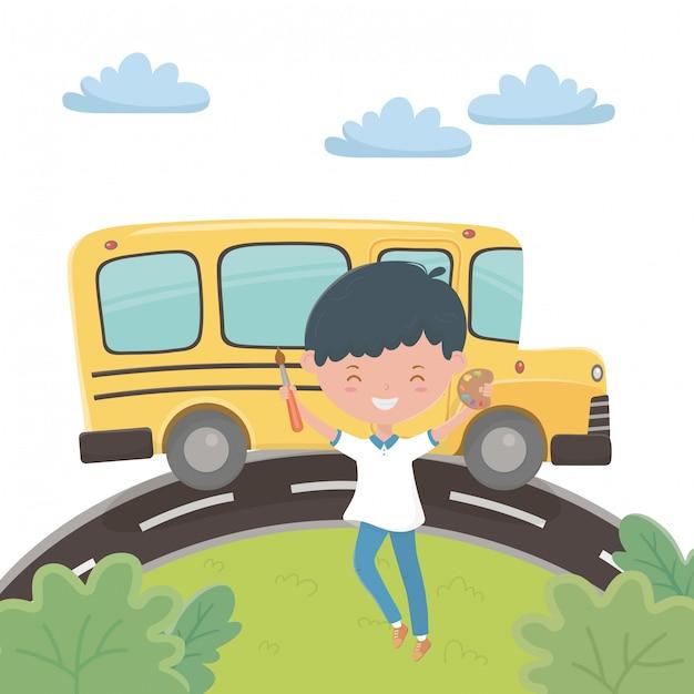 Schoolbus en jongen Gratis Vector