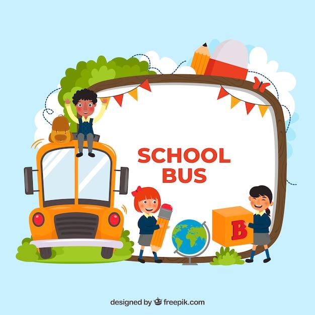 Schoolbus en kinderen met een plat ontwerp Gratis Vector