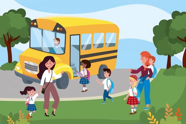 Schoolbus en moeders met hun meisjes en jongensstudenten Gratis Vector
