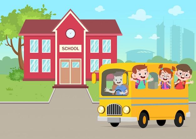 Schoolbus in de school vectorillustratie Premium Vector