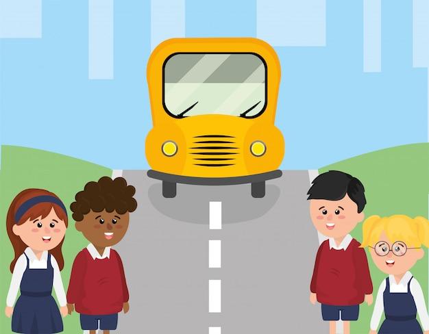Schoolbus in de straat en kinderenstudenten Premium Vector