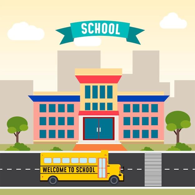 Schoolbus voor de school Premium Vector