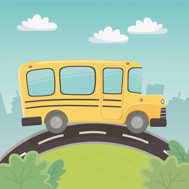 Schoolbusvervoer in het landschap Gratis Vector