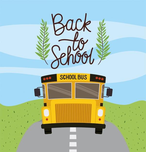 Schoolbusvervoer op de weg Gratis Vector