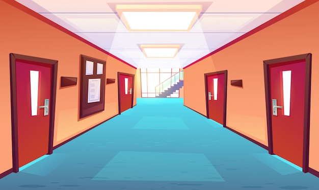Schoolgang, gang van hogeschool of universiteit Gratis Vector