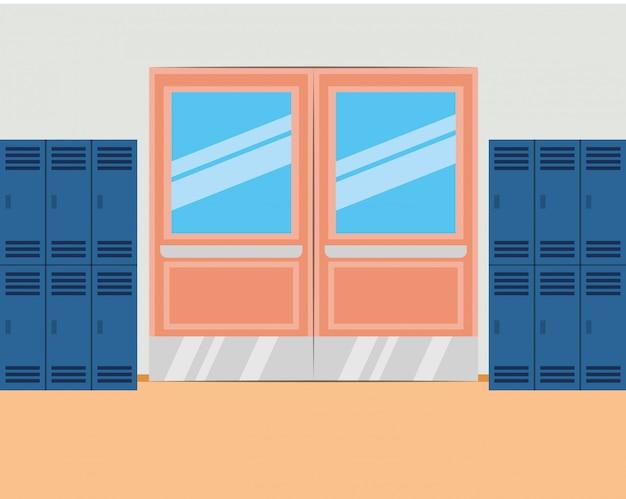 Schoolgang met kasten en gesloten deur Premium Vector