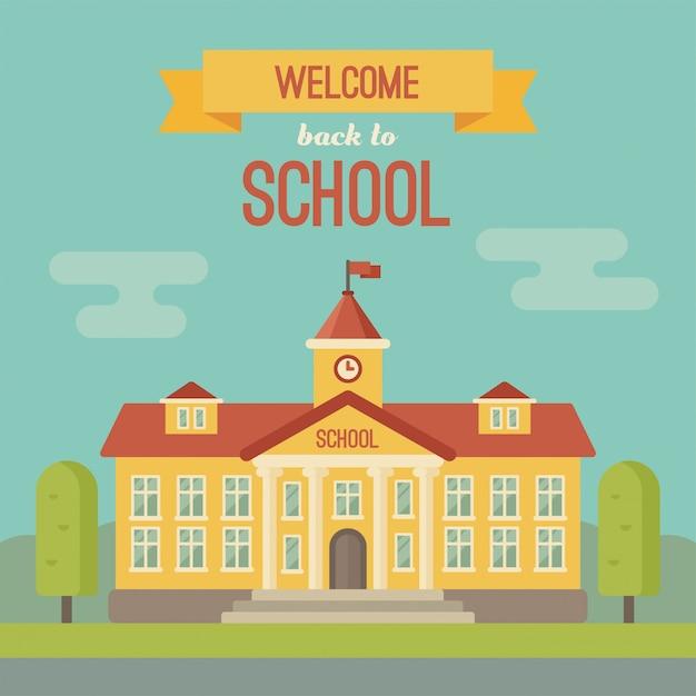 Schoolgebouw banner met tekst welkom terug op school Premium Vector