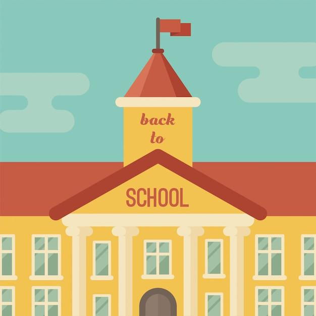 Schoolgebouw close-up met tekst terug naar school Premium Vector