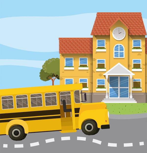 Schoolgebouw en bus in de wegscène Gratis Vector