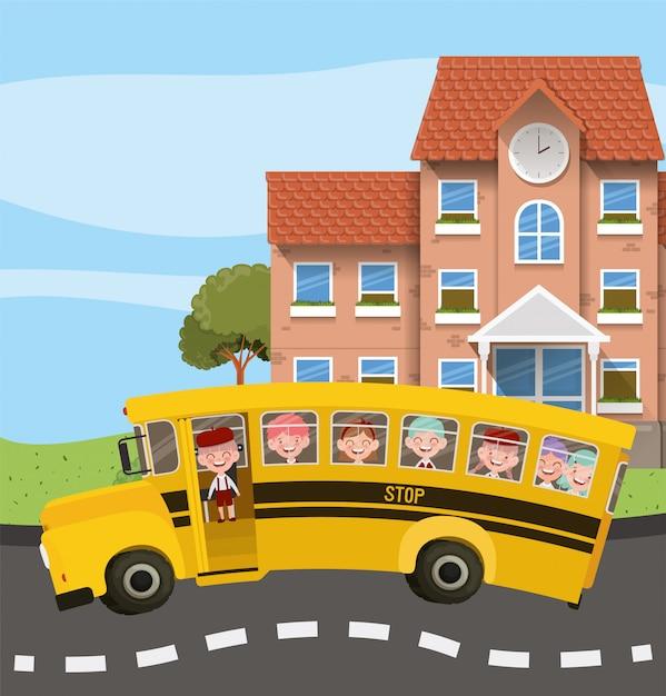 Schoolgebouw en bus met kinderen in de wegscène Gratis Vector