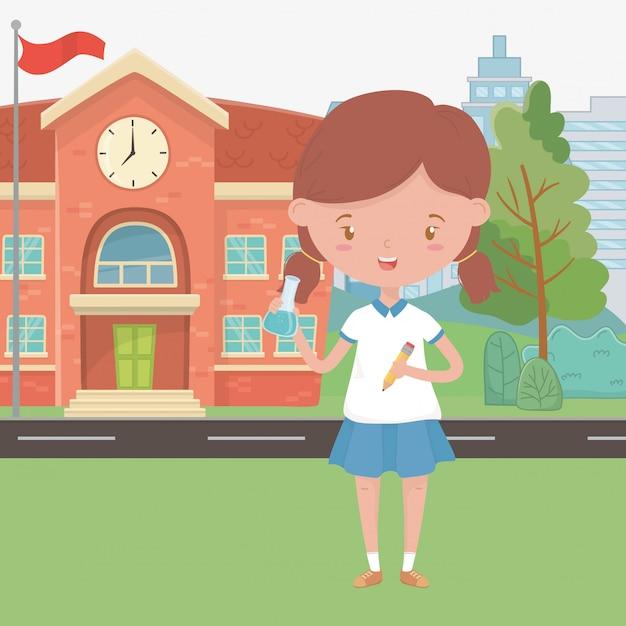 Schoolgebouw en meisje cartoon design Premium Vector