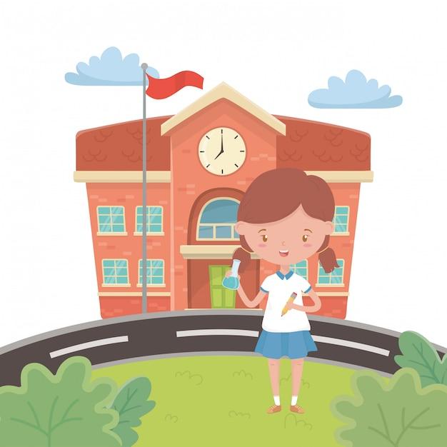 Schoolgebouw en meisje cartoon Gratis Vector