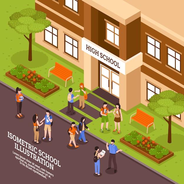 Schoolgebouw ingang isometrische poster Gratis Vector