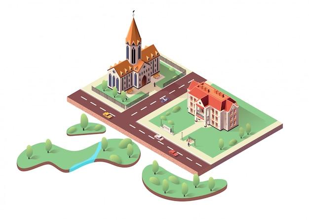 Schoolgebouw, katholieke kathedraal en stadspark Premium Vector