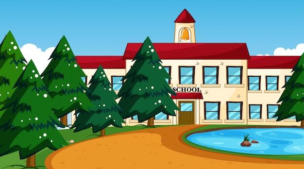 Schoolgebouw met vijverscène Gratis Vector
