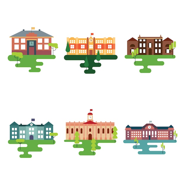 Schoolgebouwen collectie Gratis Vector