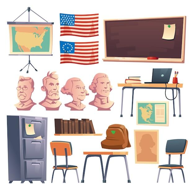 Schoolkast met geschiedenis interieurmeubilair en zo. Gratis Vector