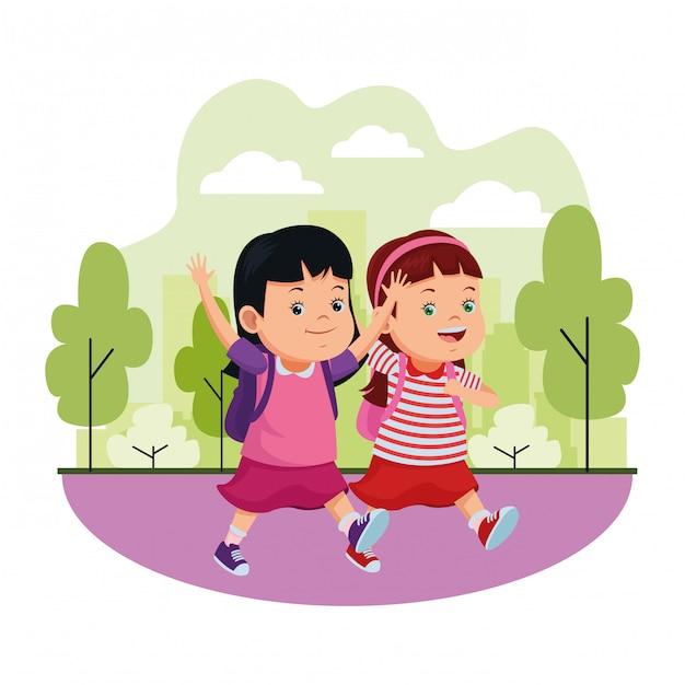 Schoolkinderen glimlachen met rugzakken Premium Vector