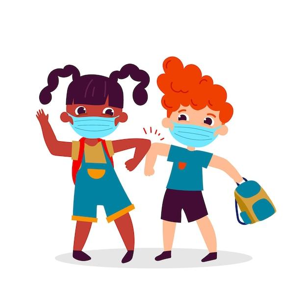 Schoolkinderen groeten in het nieuwe normaal Gratis Vector