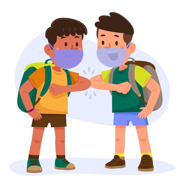 Schoolkinderen groeten in het nieuwe normaal Premium Vector