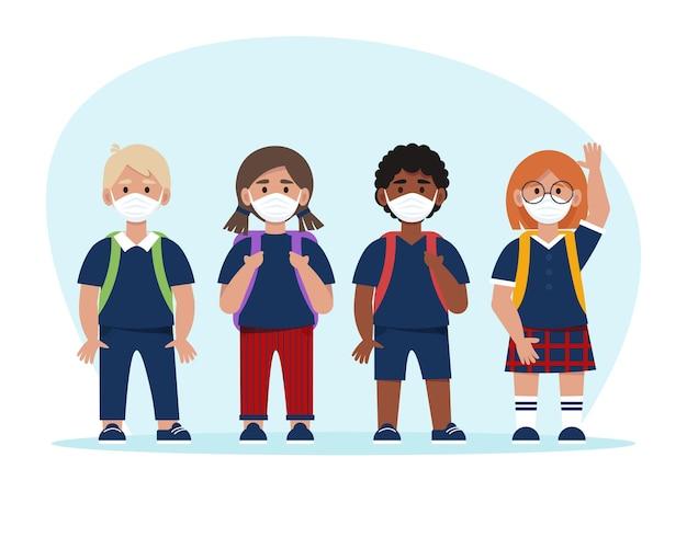 Schoolkinderen in uniformen en maskers. terug naar schoolconcept in pandemische tijd. illustratie in vlakke stijl, geïsoleerd op een witte achtergrond Premium Vector