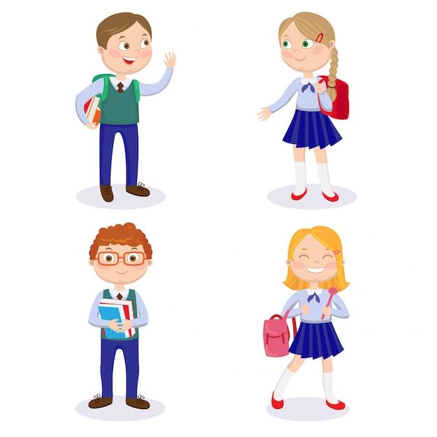 Schoolkinderen met rugzakken en boeken. gelukkige jongens en meisjes gaan naar school Premium Vector