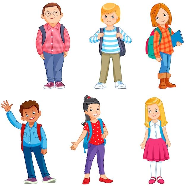 Schoolkinderen Premium Vector