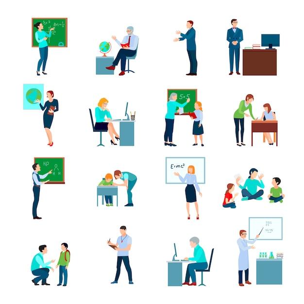 Schoolleraar gekleurde die pictogrammen met leraar bij bord en leerlingen bij bureau vlak geïsoleerde vectorillustratie worden geplaatst Gratis Vector