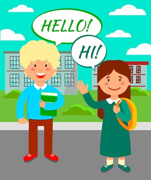Schoolmakkers die hello flat vector illustration zeggen Premium Vector