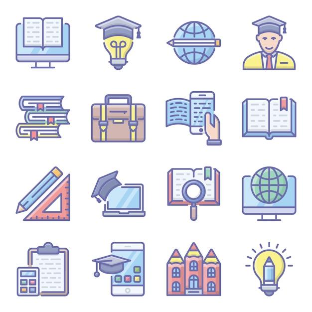 Schoolonderwijs plat pictogrammen pack Premium Vector