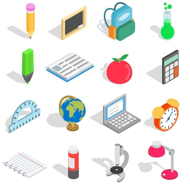 Schoolpictogrammen in isometrische die 3d stijl worden op witte achtergrond worden geïsoleerd geplaatst die Premium Vector