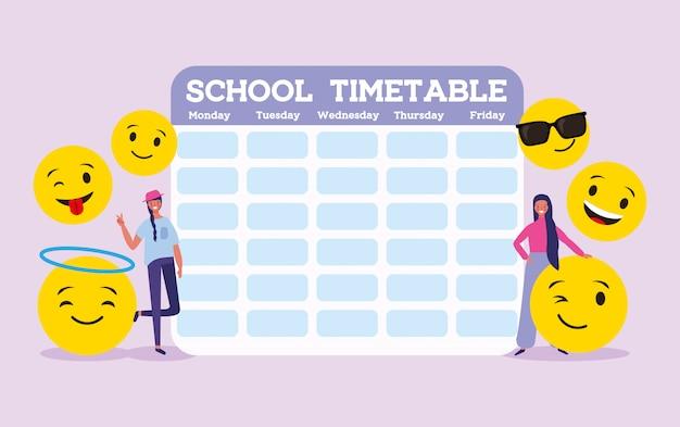 Schoolrooster met studendts en emoji's Premium Vector