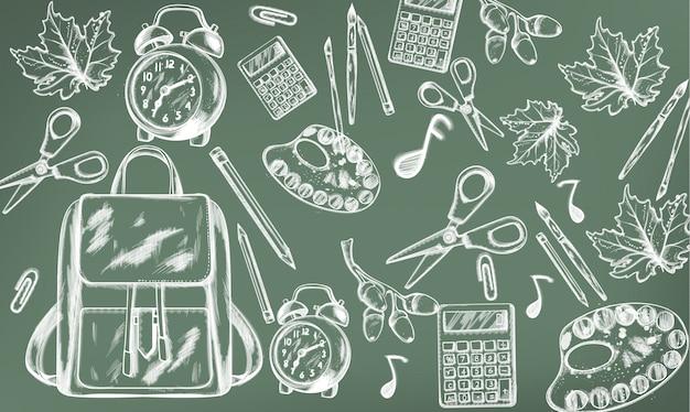 Schoolspullen. terug naar school. krijt lijntekening Premium Vector