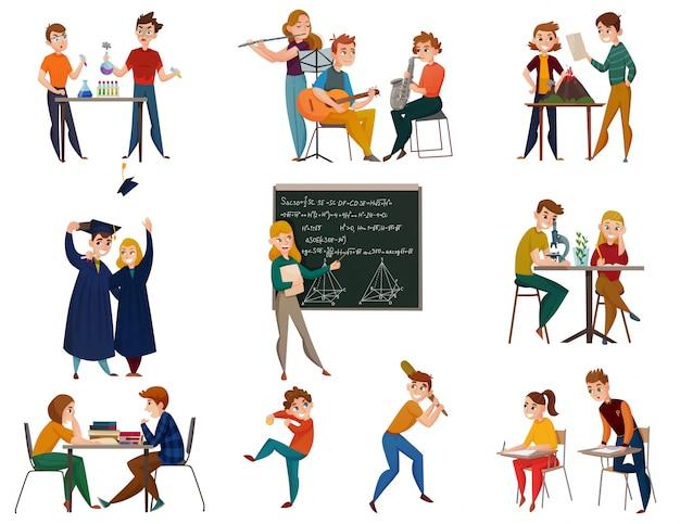 Schoolstudenten cartoon set Gratis Vector