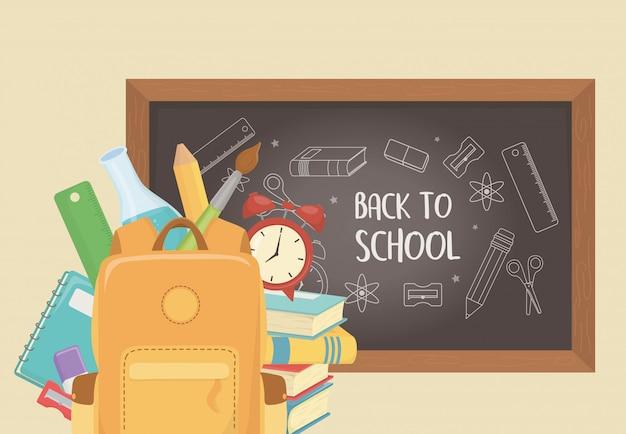 Schooltas met schoolbord en benodigdheden terug naar school Gratis Vector