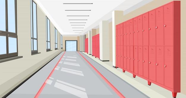 Schoolzaal met binnenlandse vlakke de stijlillustratie van schoolkasten Premium Vector